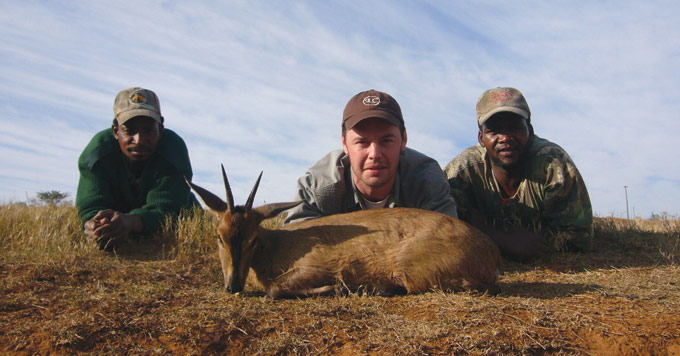 Blue Duiker with Smilee (left), Marcus, and Desmond